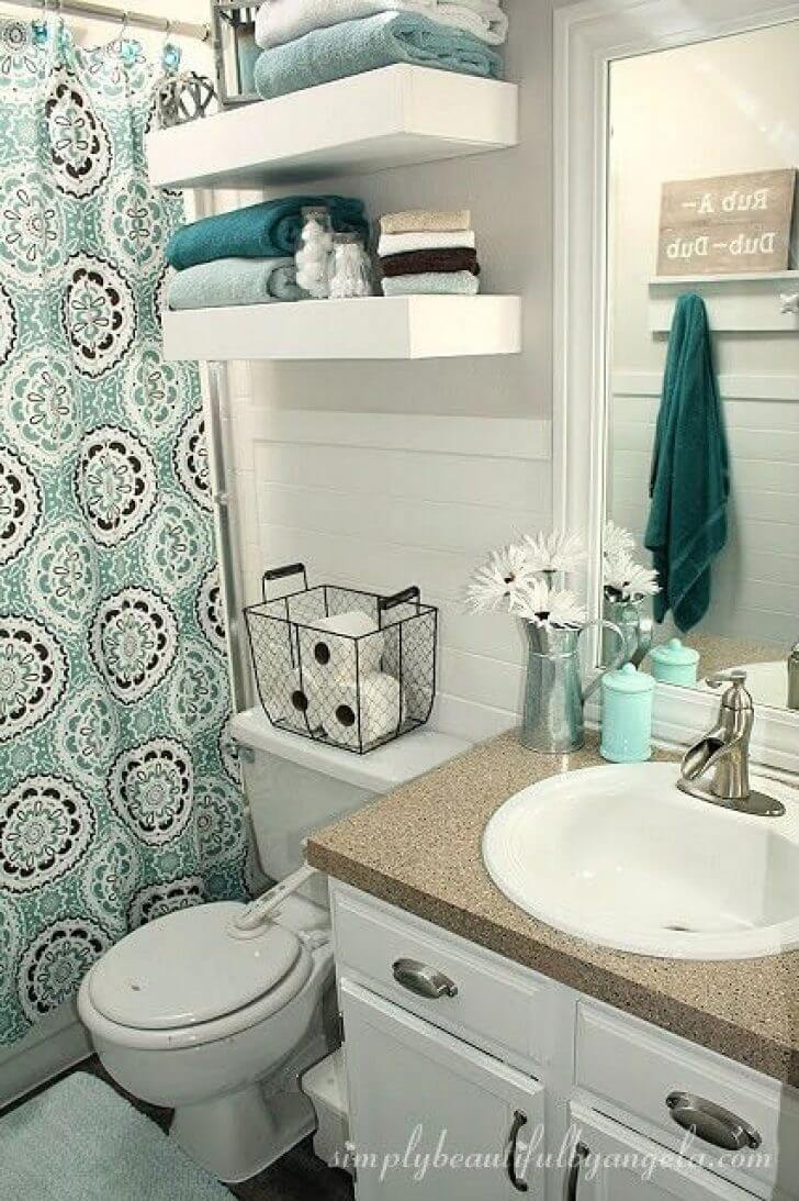 Blukatkraft Diy Quick Easy Wall Art For Bathroom: 32 Best Over The Toilet Storage Ideas And Designs For 2020