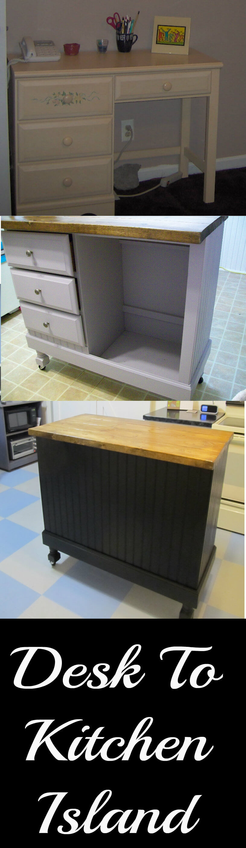 Make Your Kitchen Island with a Few Mods to This Desk