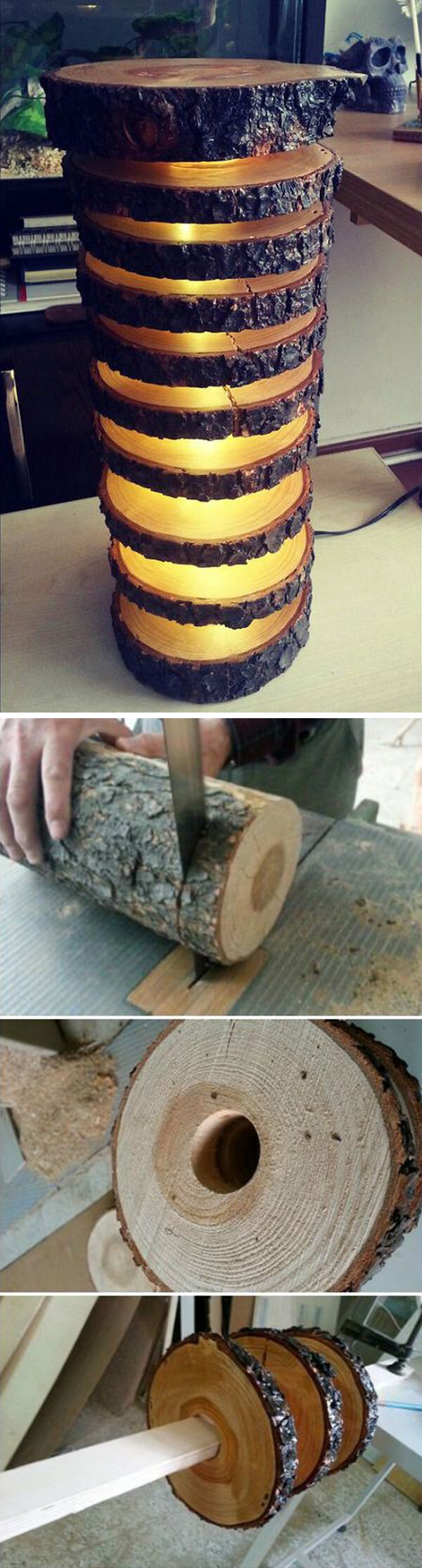 rustic wood column of light - Wood Craft Ideas