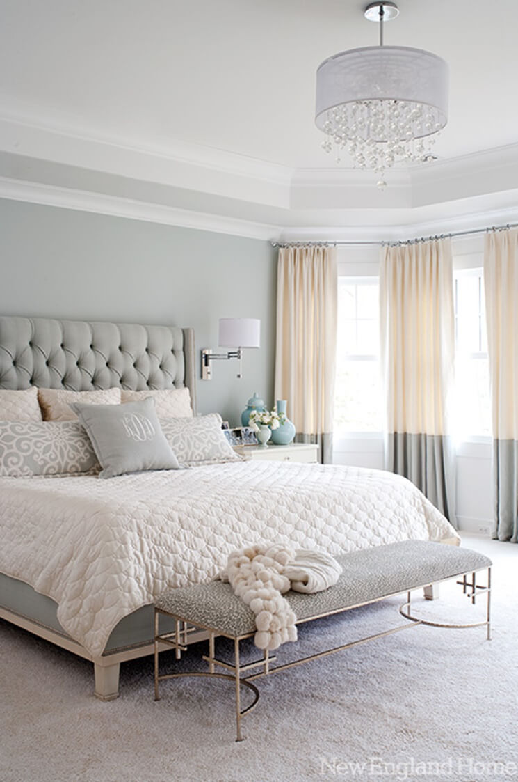 Luxe, Feminine Decor and Furniture Heighten this Soft Grey Bedroom