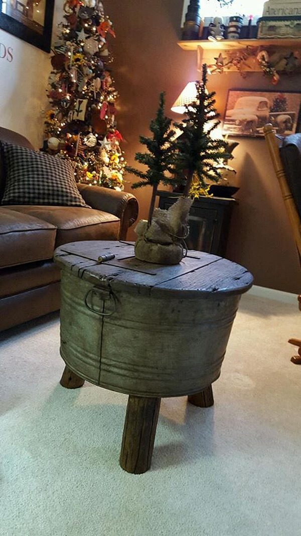 Bucket with Feet Makes Unique Table Base