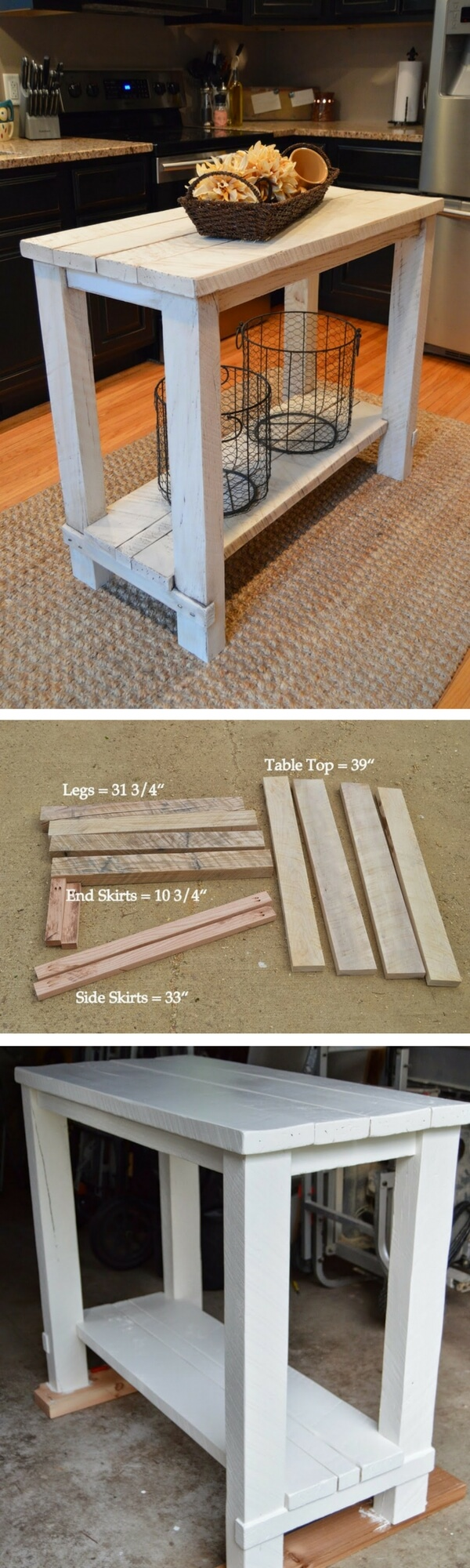 Small Kitchen Island is Rustic and Simple to Make