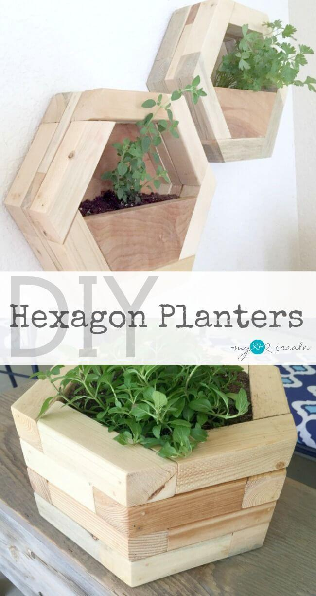 Planters Done in Hexagon and Wood