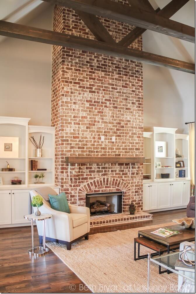 Red Brick Anchors a Tall Space