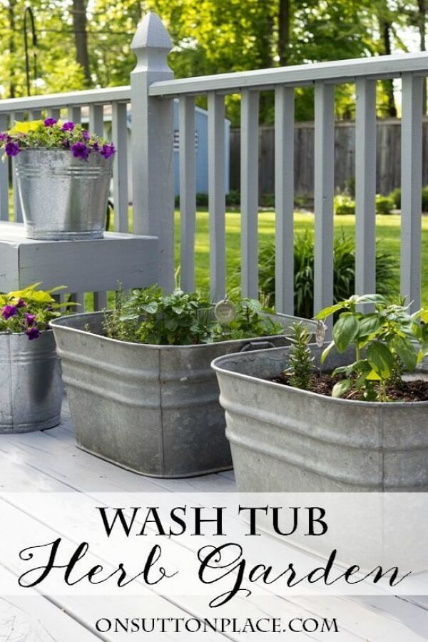 Easy Planters Made with Repurposed Galvanized Tubs
