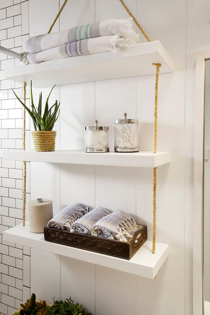 Chic Hanging Bathroom Storage Shelves