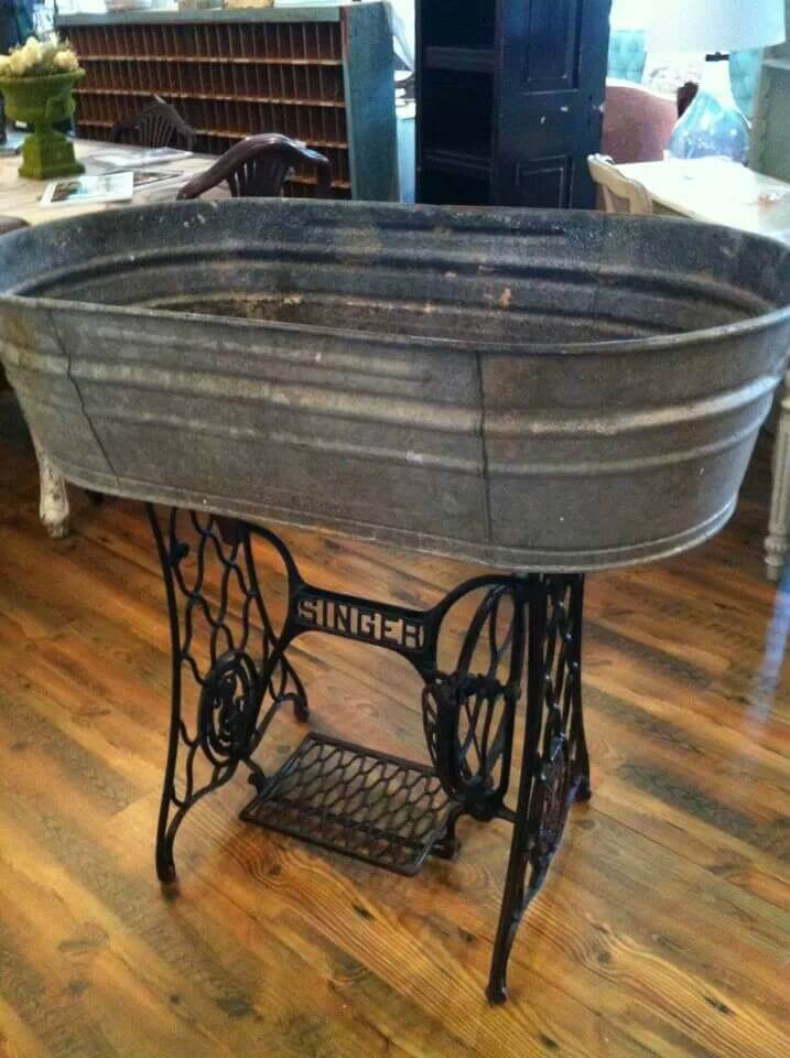 Wash Tub and Sewing Machine Base Create Magic