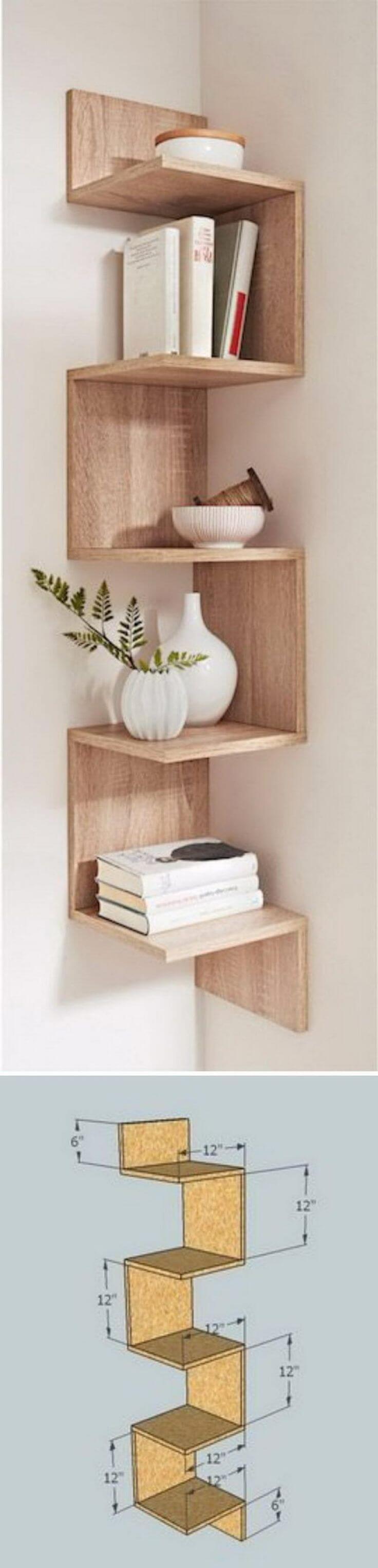 32 a unique corner zigzag shelf - Wood Craft Ideas