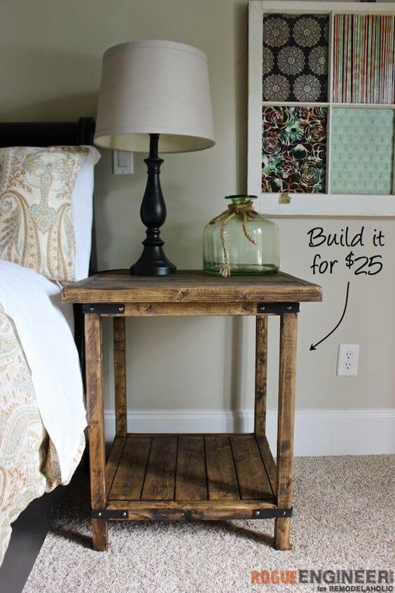 Inexpensive DIY Rustic Bedside Table