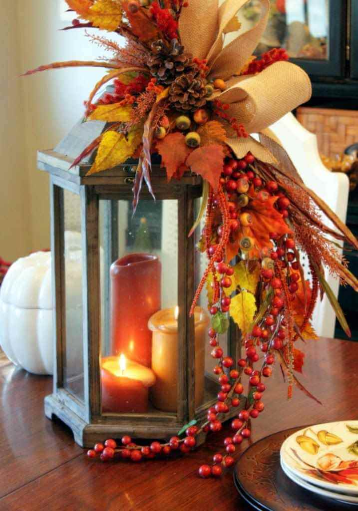 a touch of autumns bounty lantern - How To Decorate A Lantern For Christmas