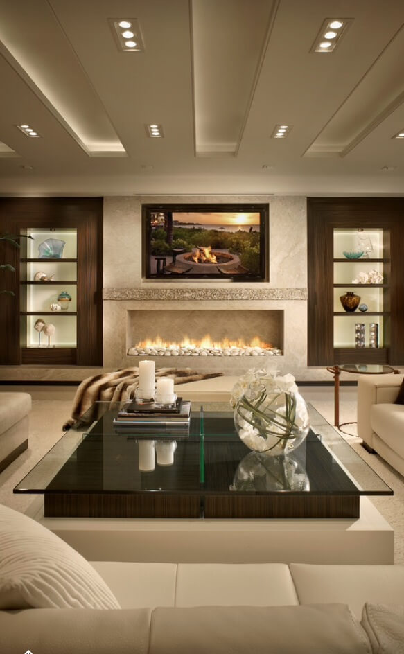 Fireplace, Wood And Warm In Modern Living Rooms