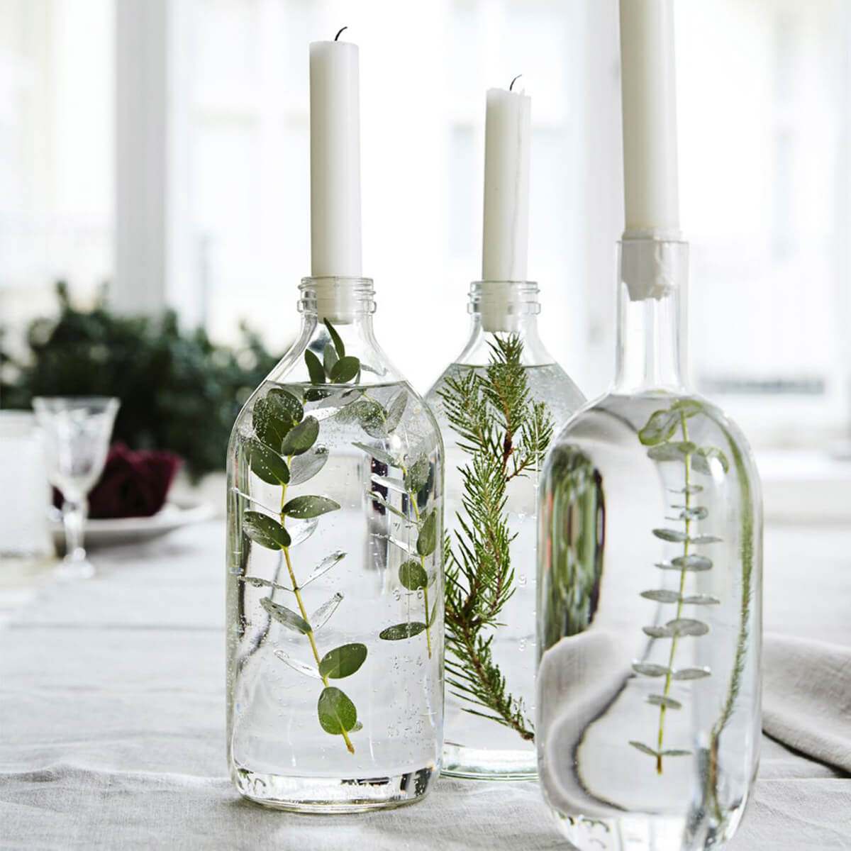 Bottled Botanicals Clear Taper Holders
