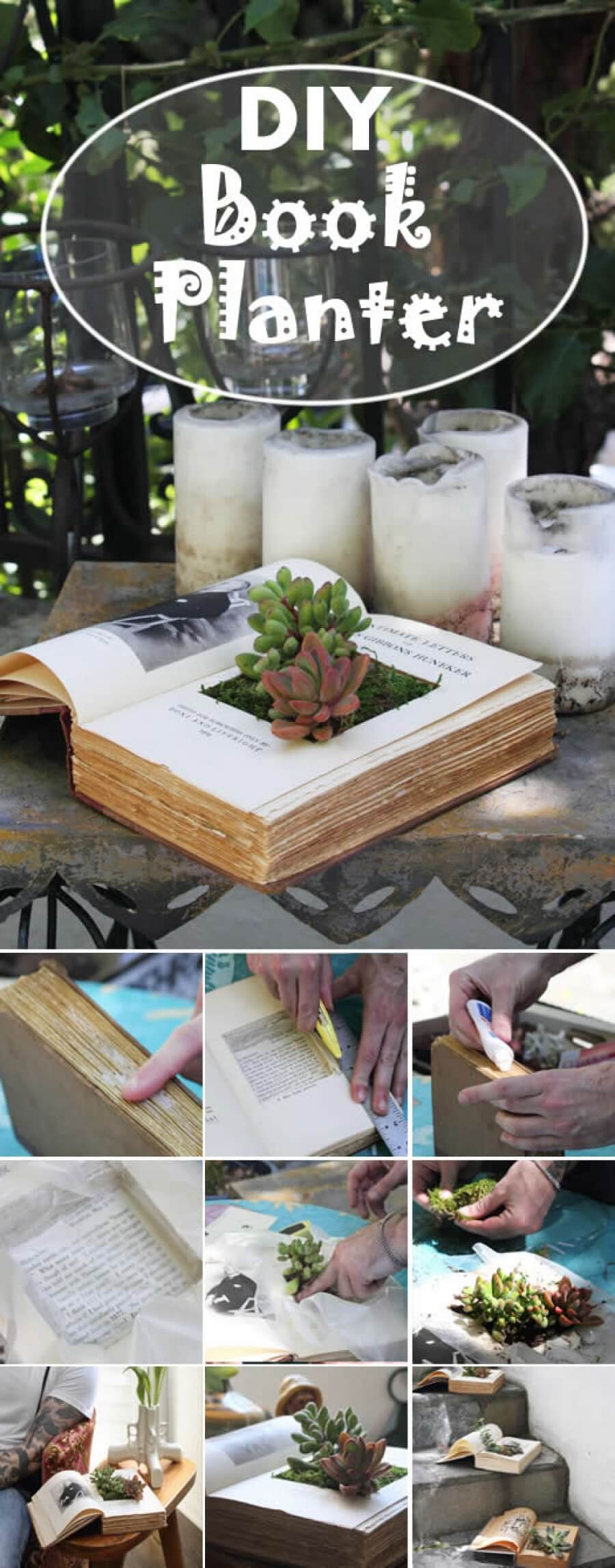 Simple Indoor Outdoor Book Planters