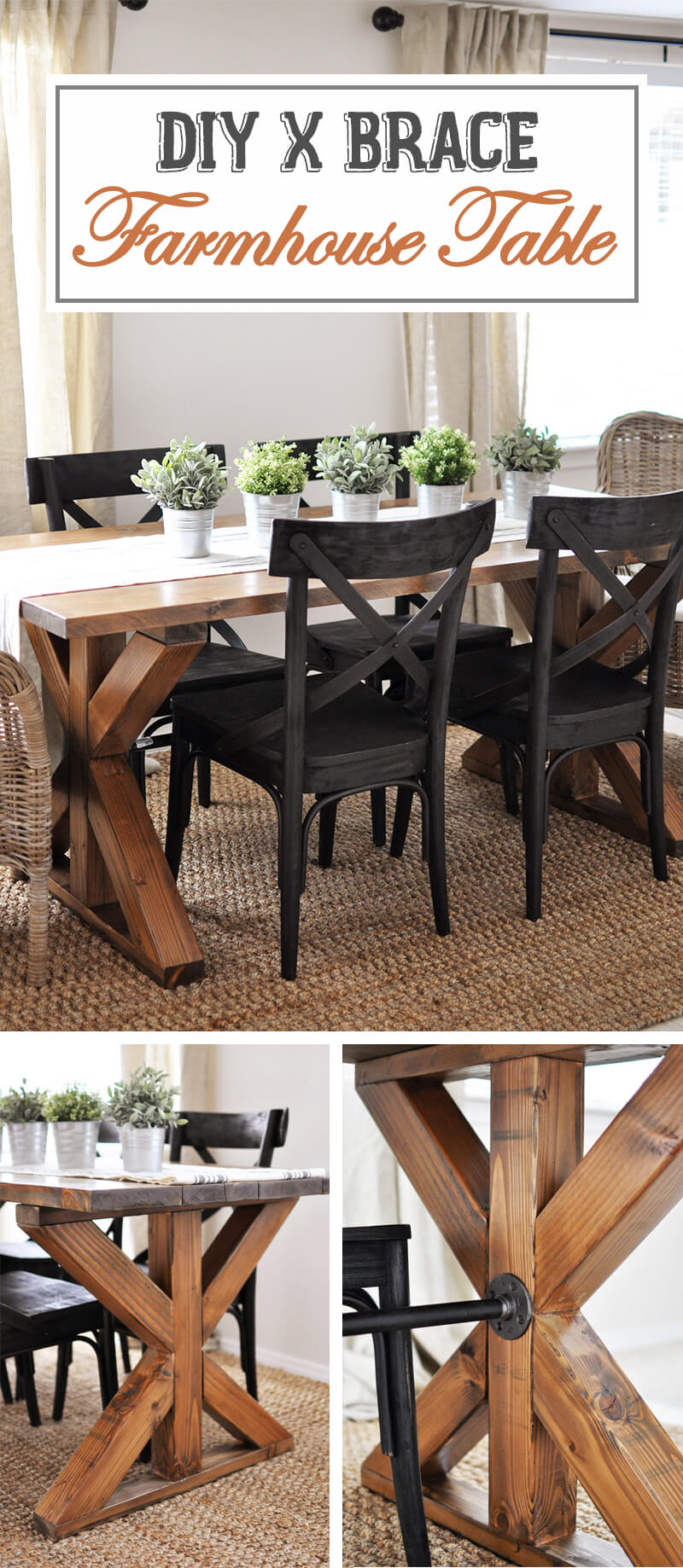 X-Brace Accent Farmhouse Table Design