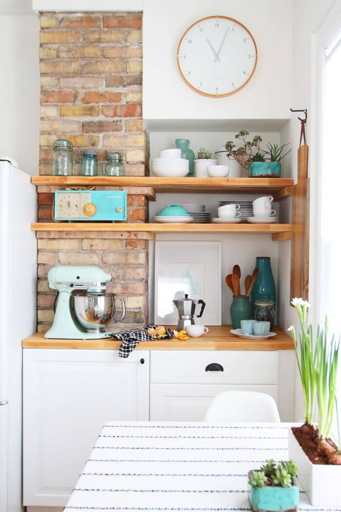 Aqua Accents Exposed Brick Cottage Kitchen