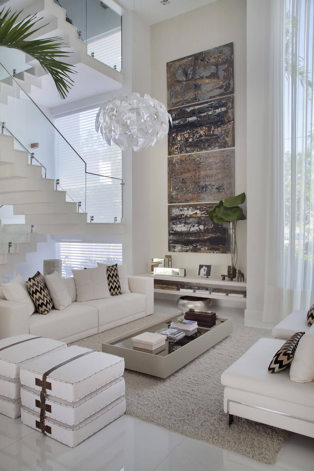 White Dream and Bold Design Living Room