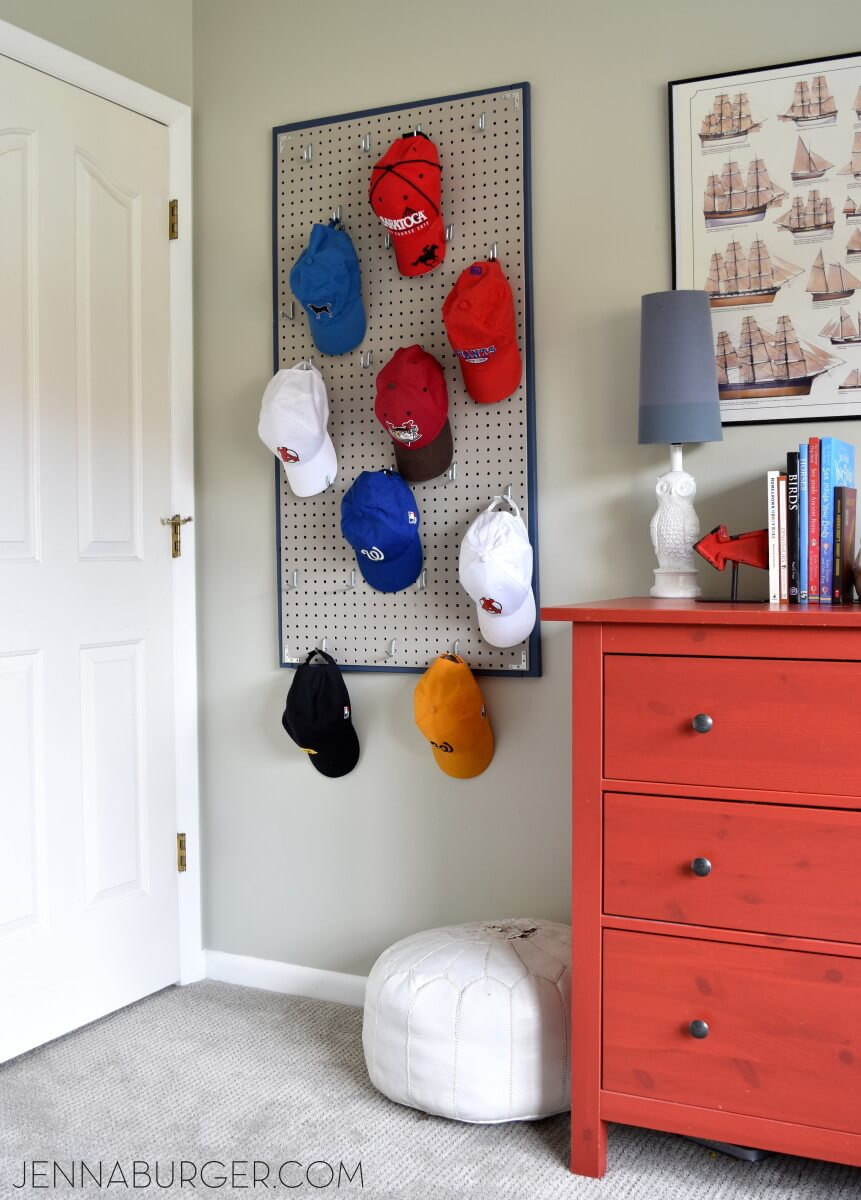Baseball Cap Pegboard Teenage Boy Room