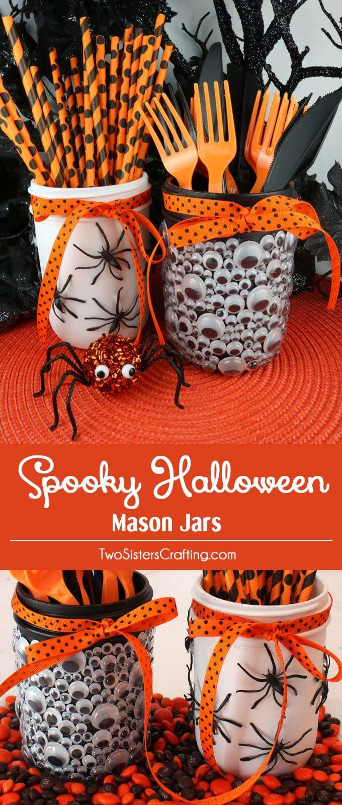 30 Best DIY Mason Jar Halloween Crafts (Ideas and Designs) for 2018