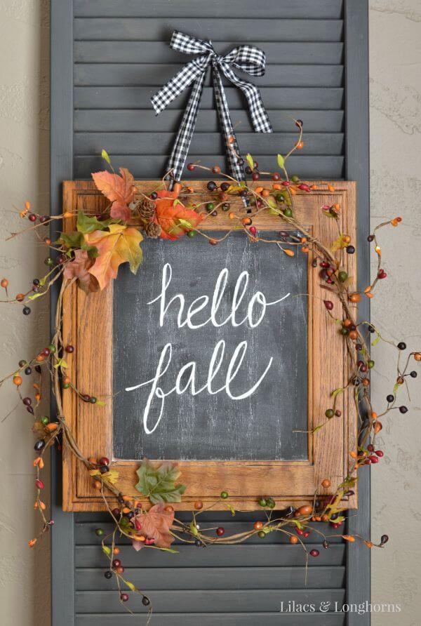 Elegant Autumn Chalkboard Hanging Sign