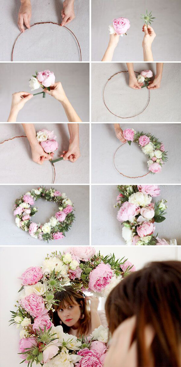 Sweet Floral Wreath Mirror