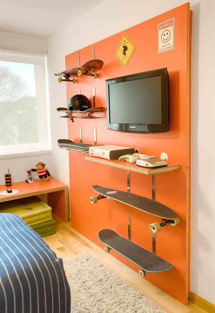 Clever Skateboard Shelves Teen Boy Room