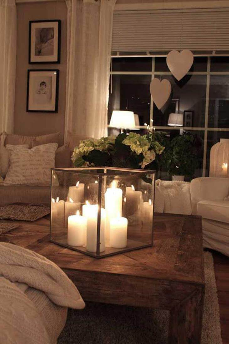 Elevate Basic White Pillars with a Candle Cube & 34 Best Candle Decoration Ideas and Designs for 2018
