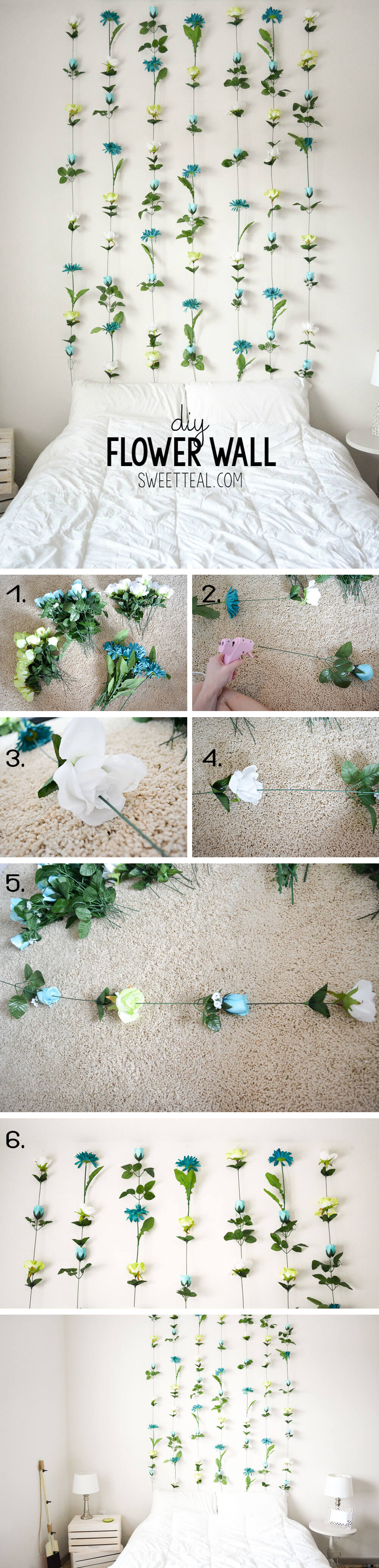 Natural and Bohemian DIY Flower Wall