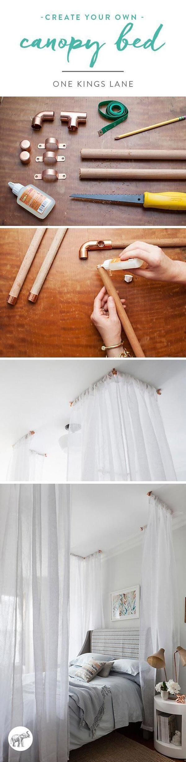 Sweet Low-Cost Canopy Bed Idea
