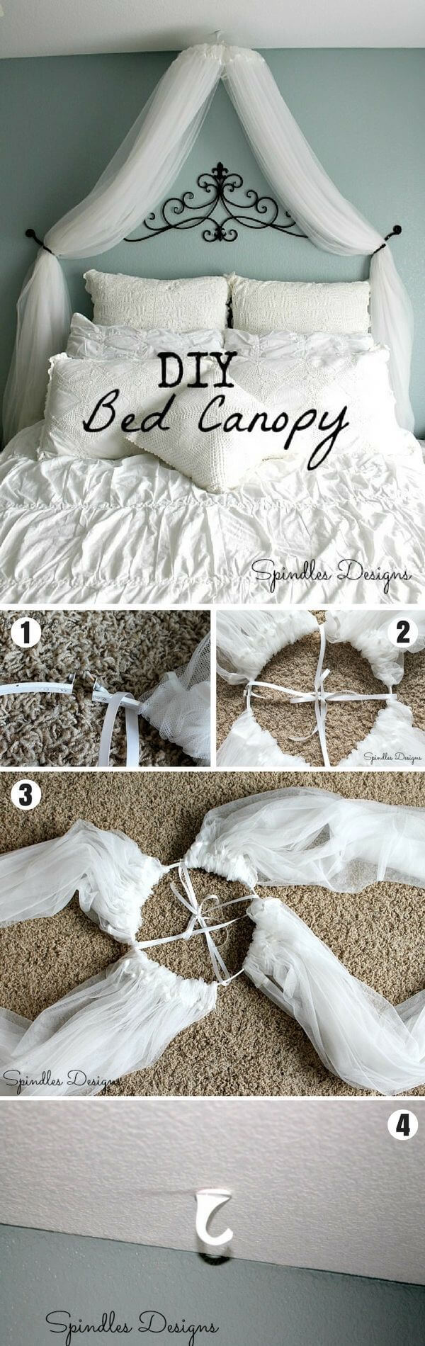 Inexpensive and Dreamy DIY Bed Canopy