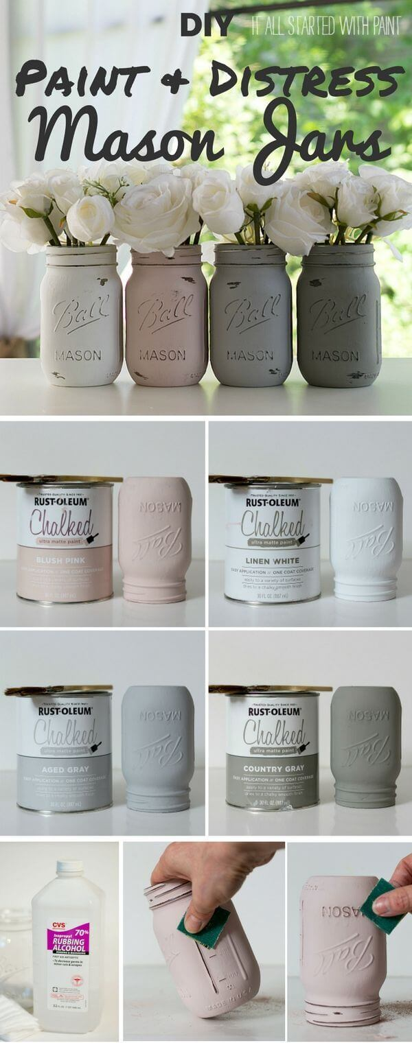 Distressed Neutral Painted Mason Jar Vases