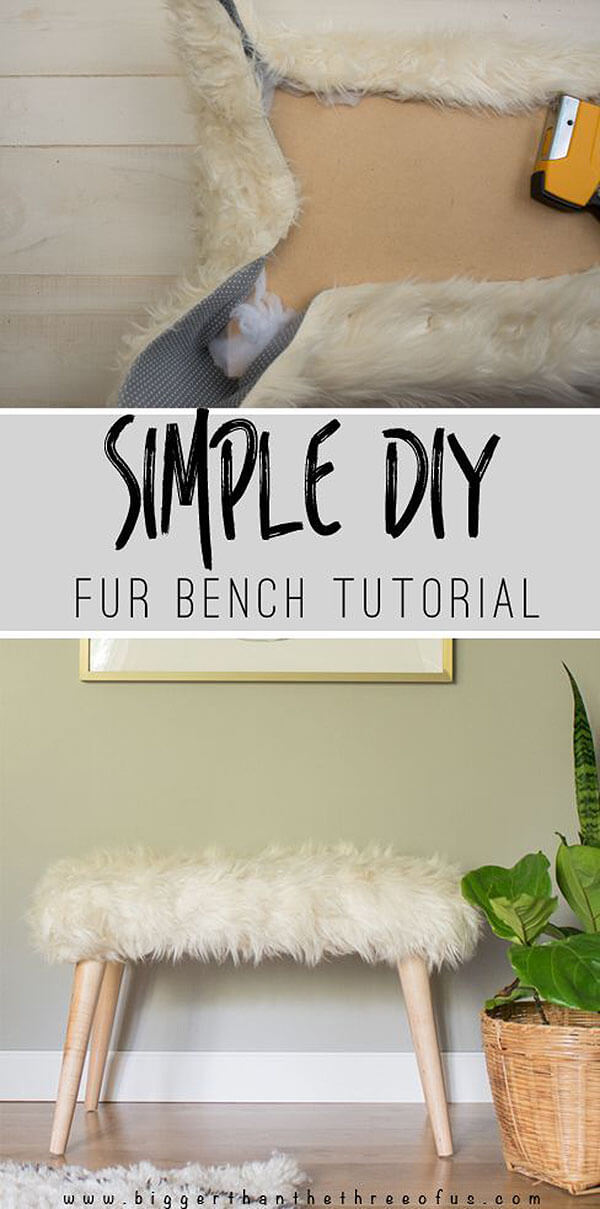 Easy Scandinavian-Inspired Fur Bench DIY