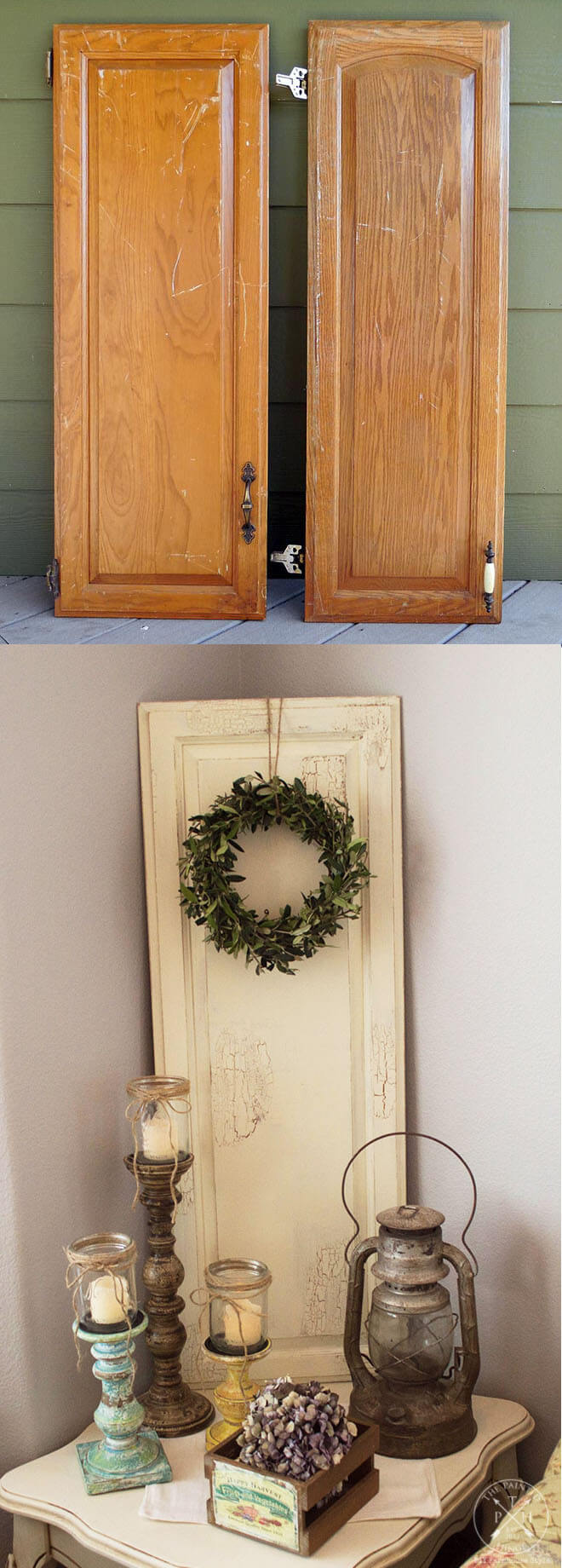 16. Simple Painted Plank Wreath Decor