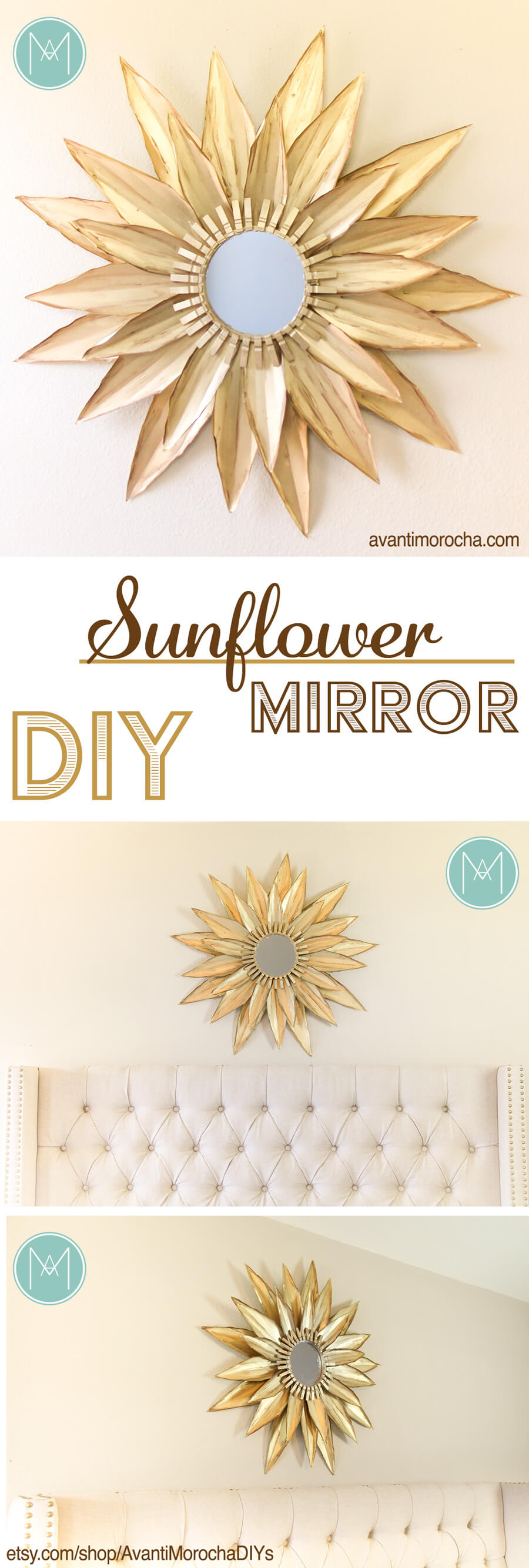 Charming DIY Sunflower Mirror Idea