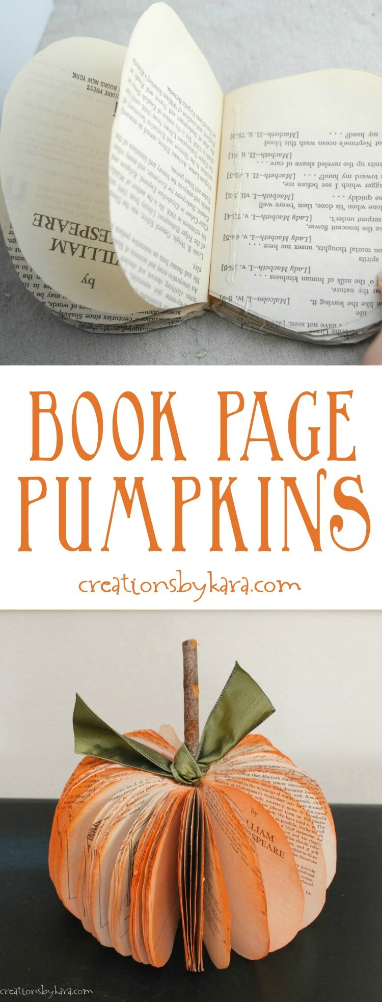 Book Page Pumpkin Fall Craft