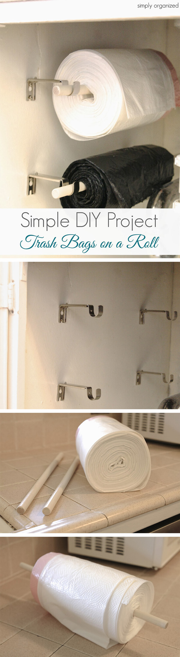 DIY Wall-Mounted Trash Bag Rollers