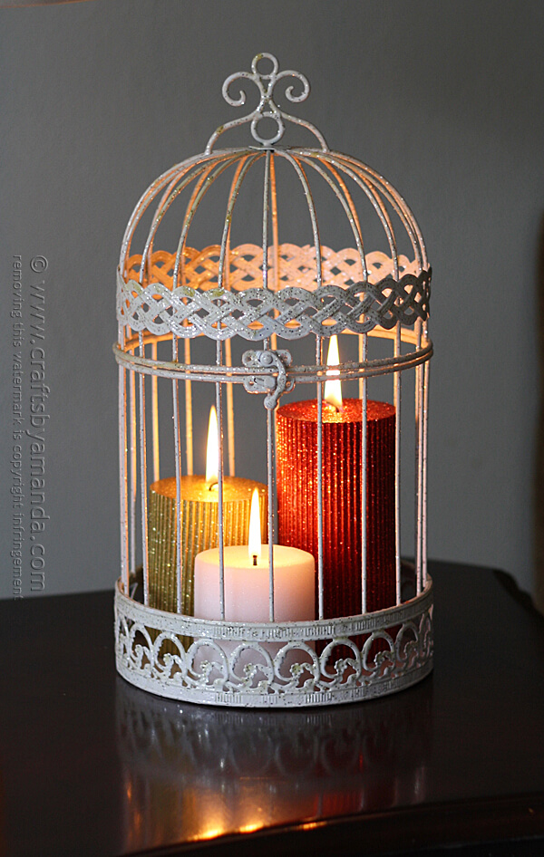 Glittering Holiday Bird Cage Candles