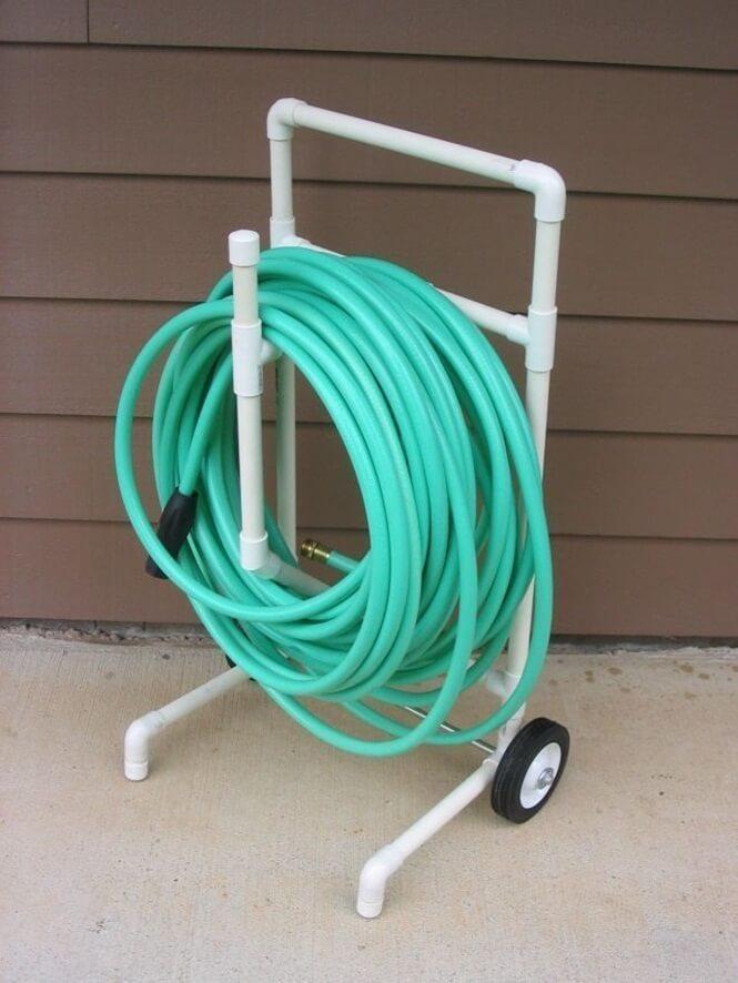 PVC Rolling Garden Hose Caddy