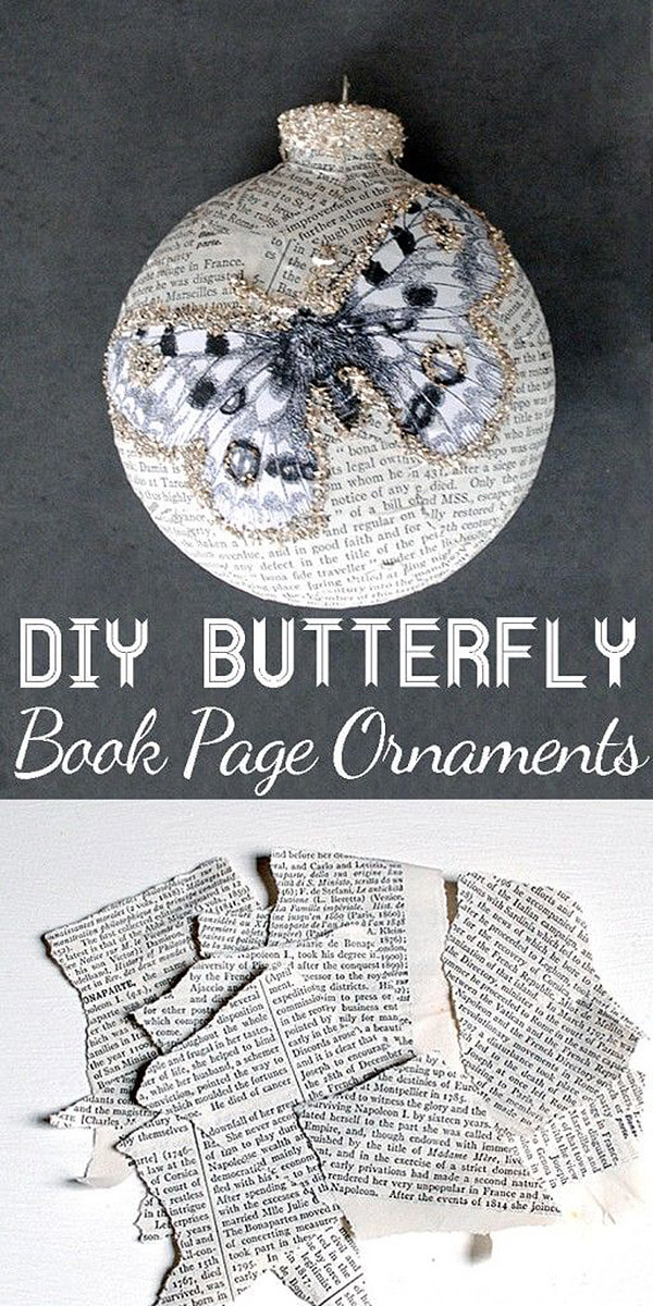 Vintage Book Page Butterfly Ornaments