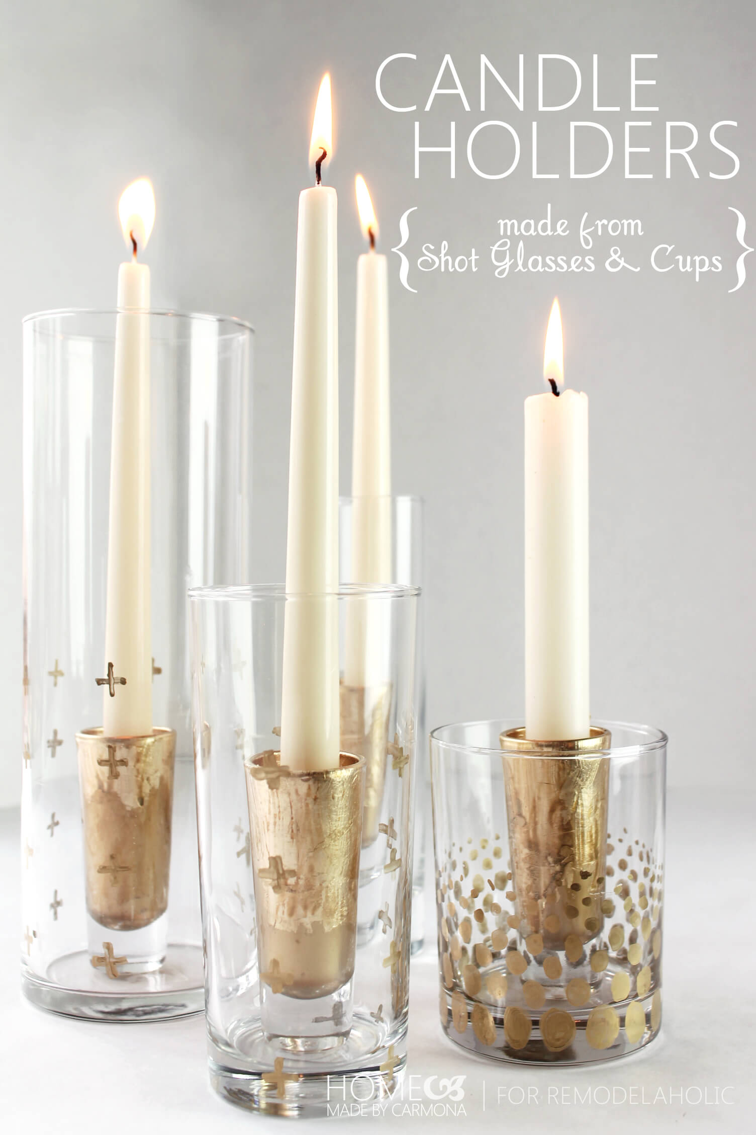 Clever Gilded Nesting Glassware Candle Holders