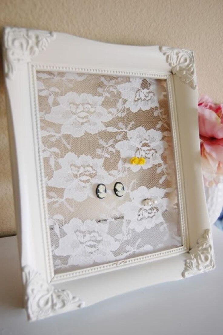 Shabby Chic Framed Earring Board
