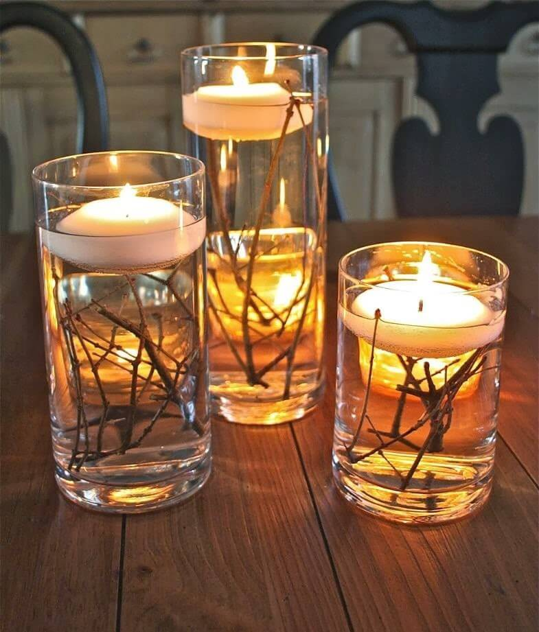 Floating Votives with Twig Accents