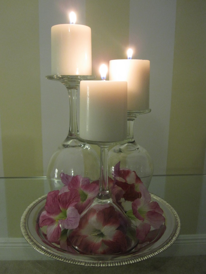 Fresh Flowers and Stemware Candle Trio