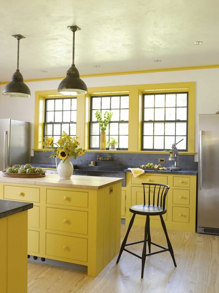 cottage kitchen design. Industrial Lighting And Yellow Cottage Kitchen Design