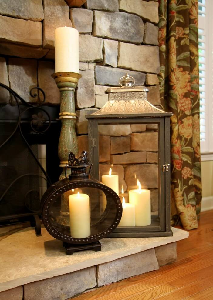 Soft Flickers on the Fireplace Lantern