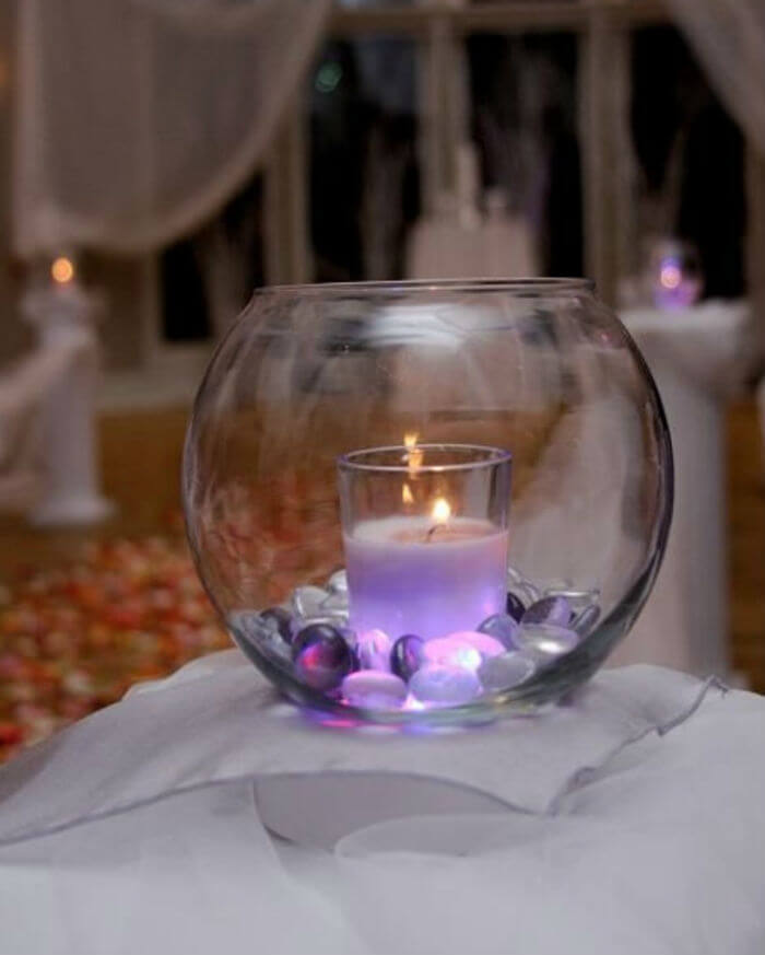 Romantic Fishbowl Candle Idea