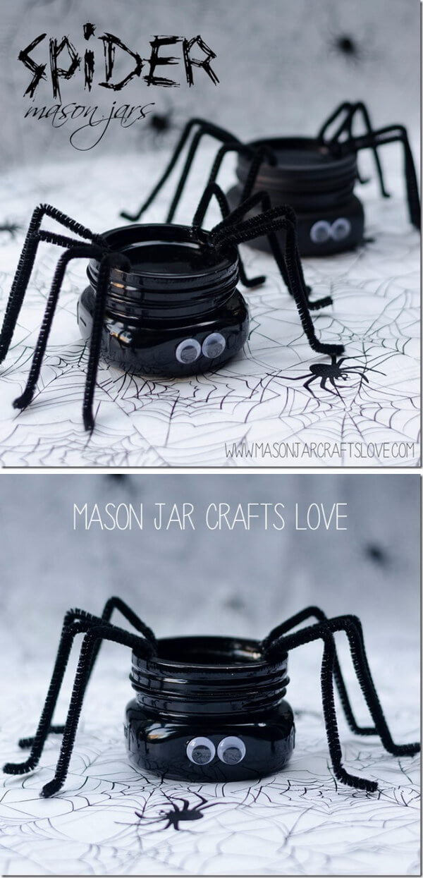 Silly Spider Pipe Cleaner Mason Jar Craft