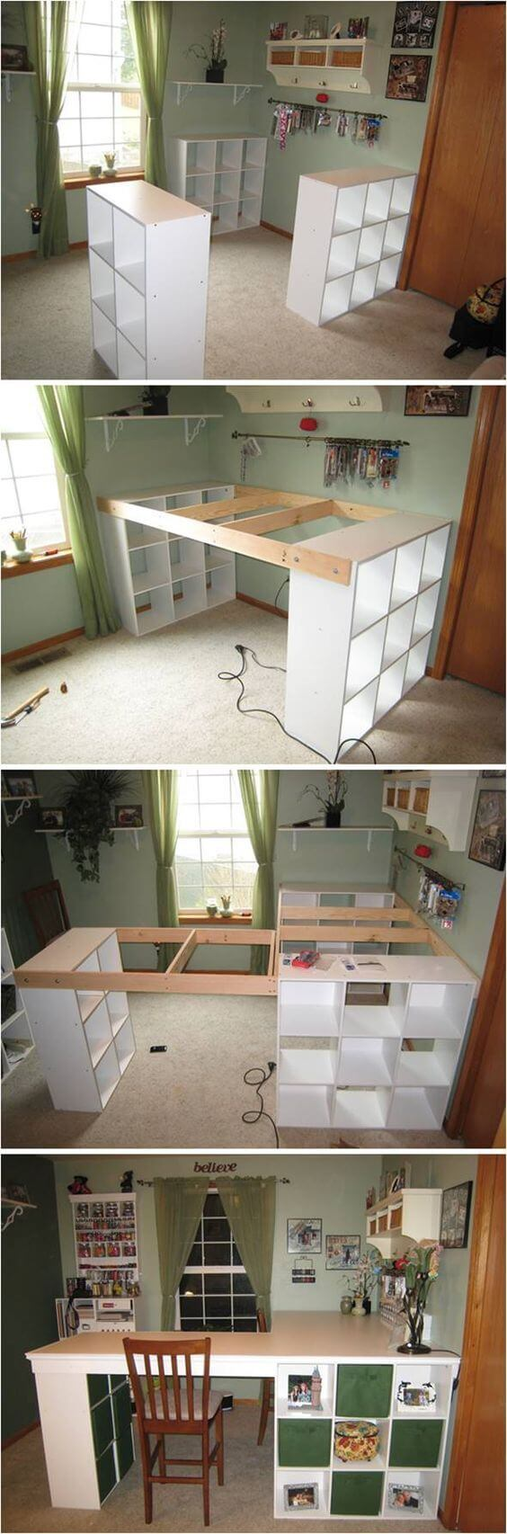 L Shaped Work E With Built In Storage Diy Project