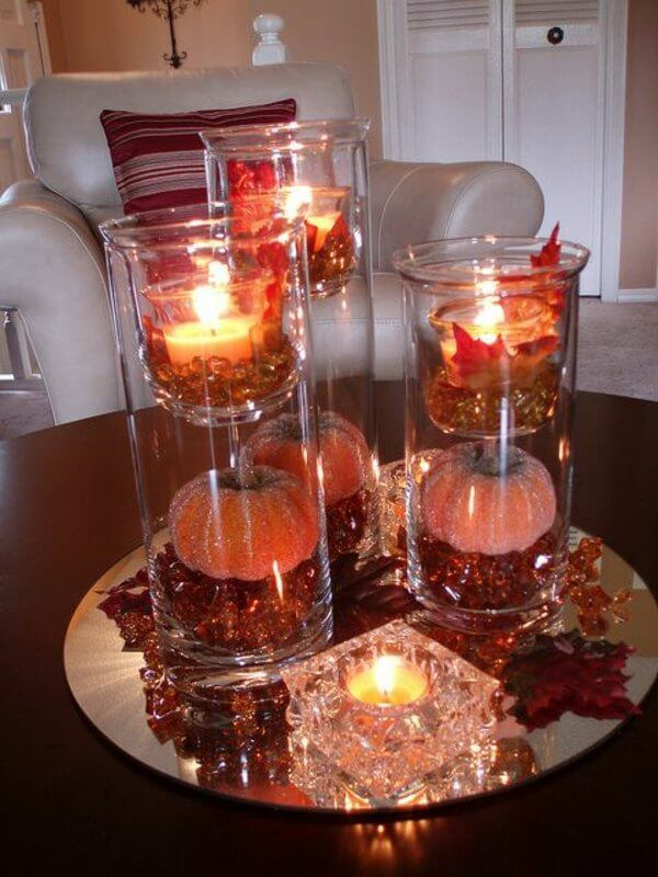 Sophisticated Fall Pumpkins with Candles