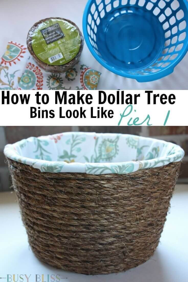 Plastic to Rustic Rope Basket Makeover