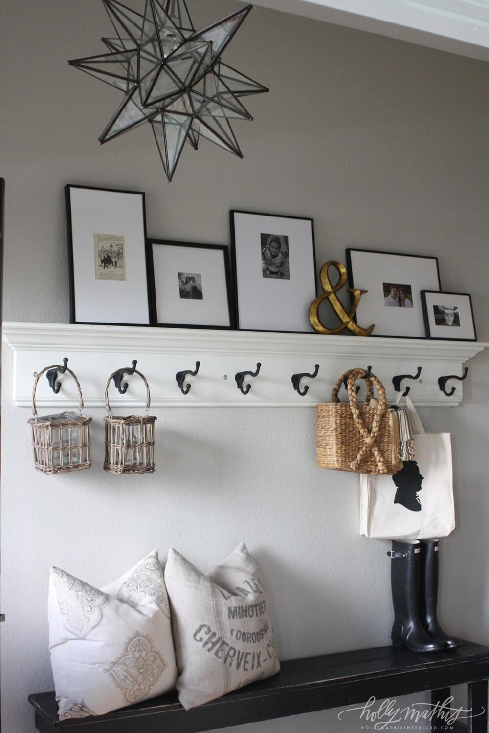 Bright White Wall Shelf with Coat Hooks